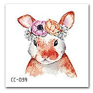 【萌古屋】花朵兔子單圖CC-039 - 防水紋身貼紙刺青貼紙K37