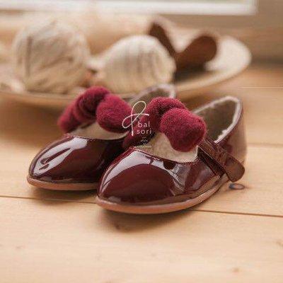 『※妳好,可愛※』韓國童鞋babyzzam 毛尼蝴蝶結娃娃鞋 亮皮鞋 花童鞋 平底鞋 女童鞋 舖棉 (2色)