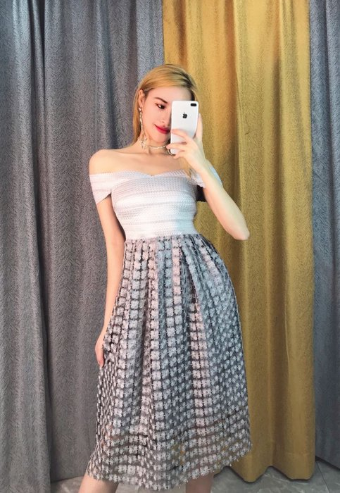 Nie Sansa 【預購】 一字領銀拼簍空立體花連身長洋繃帶裙長禮服晚宴服