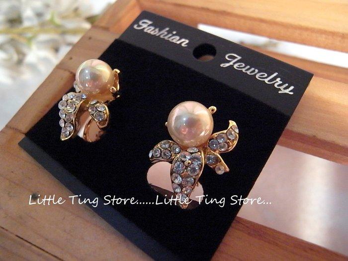 Little Ting Store 早期老件古董珠寶珠光珍珠排鑽金屬耳環夾式螺旋夾耳環貼耳飾