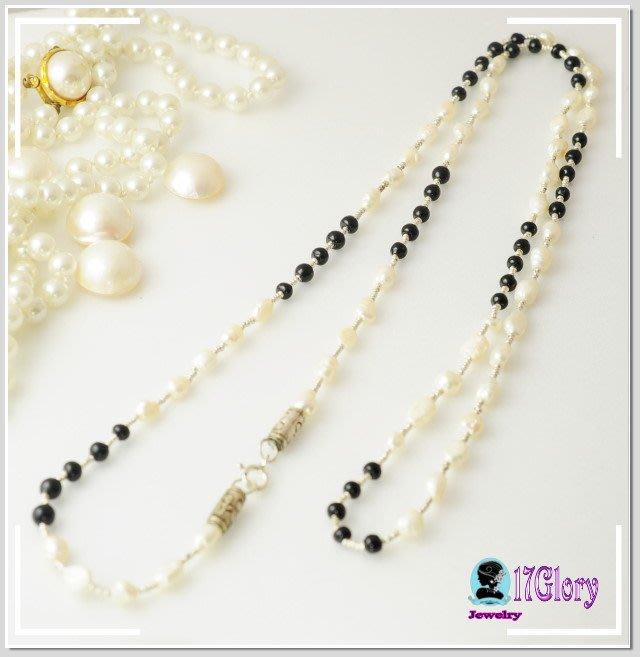 925純銀天然淡水米粒珍珠長項鍊 黑白珠與銀珠相間設計 簡約 好搭  珍珠典雅 OL款 #現貨✽ 17 Glory ✽