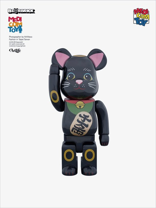 Artlife @ MEDICOM 2014 BE@RBRICK 400% 招き猫 黒 弐 千万兩 招財貓