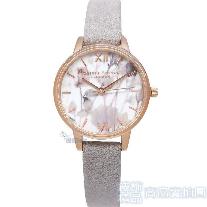 OLIVIA BURTON 手錶 OB16VE14 朦朧花卉 丁香皮灰色 環保絨面錶帶 女錶30mm【錶飾精品】