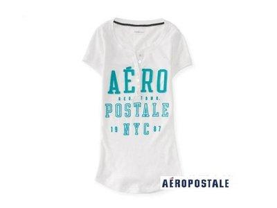 美國正品Aeropostale [Aero] 美式休閒短袖T ~ 白 / L ( 編號:2354 )