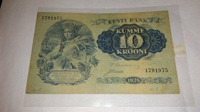 愛沙尼亞Pick 67 1928年版10 Krooni 紙鈔
