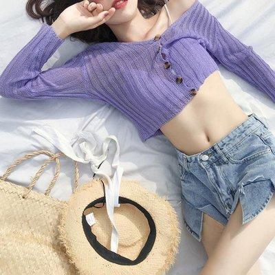 ZIHOPE 夏薄針織紫色開衫女空調衫外套防曬外搭短款配吊帶裙的小外披罩衫ZI812