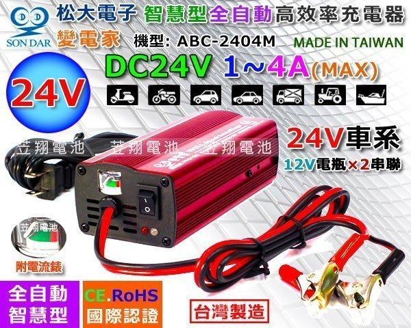 【鋐瑞電池】變電家 24V4A 電池充電機 電瓶 充電器 電動代步車 大樓發電機 電動滑板車 ABC-2404M 太陽能