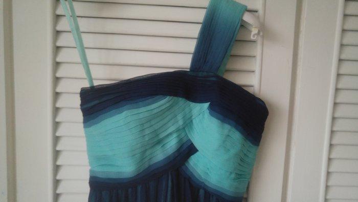 專櫃正品【BCBG】希臘女神單肩純絲漸層藍綠洋裝