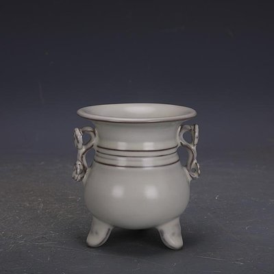 【三顧茅廬 】宋代汝窯月白釉鐵胎支釘如意尊清涼寺款 手工古瓷器古玩收藏擺件