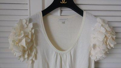 英國輕時尚 MONSOON 花苞苞片袖米色針織洋裝