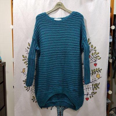 °☆ 珮齊精品舖 ☆° 韓版-藍綠色長版厚針織毛衣/短洋