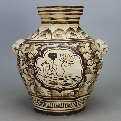 ㊣姥姥的寶藏㊣北宋吉州窯白地皮褐彩海水紋八方雙耳罐