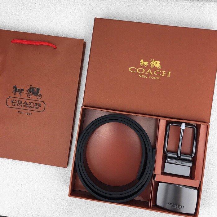 Chris代購 美國Outlet 感恩節特 隨時斷貨 把握機會搶購 COACH 男款 真皮 棕色禮盒皮帶 3.8CM