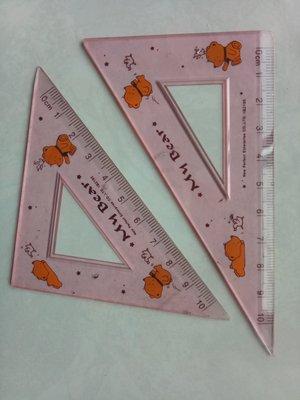 粉紅色熊圖案透明三角板兩件一組合售送鉛筆橡皮擦 My Bear 橘色小熊和小鴨子小鳥類星星 兒童文具小學數學課用 櫻環