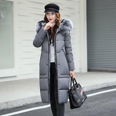 羽絨外套 連帽夾克-長款寬鬆大毛領過膝女外套4色73pa7[獨家進口][米蘭精品]