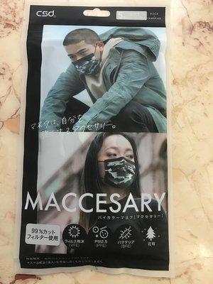 現貨 中衛CSD日本袋裝口罩-黑迷彩 (5入)