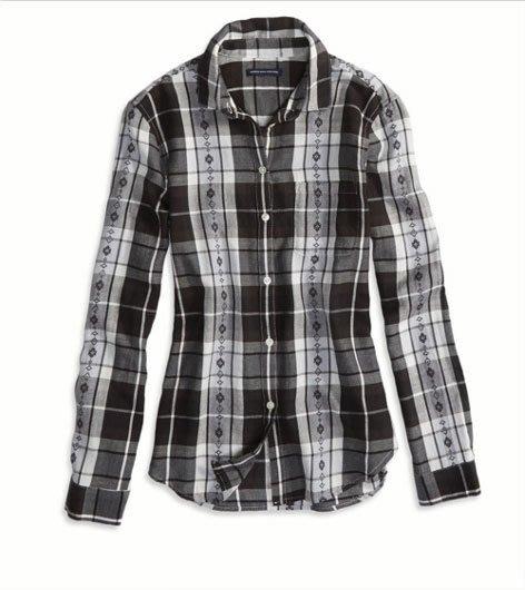Maple麋鹿小舖 American Eagle * AE 黑灰格紋長袖襯衫 *( 現貨S號 )
