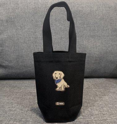 黑色系列《臘腸-坐姿》台灣製棉麻布 杯套 提袋 插畫 柴犬 寵物 聖誕節 / 蒼蠅星球 / 手創市集