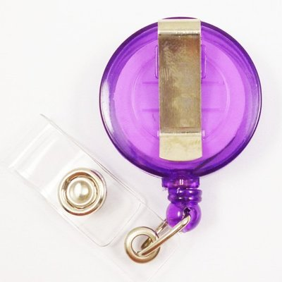 (證帶專家)空白半透明伸縮扣,易拉扣,易拉得,溜溜球扣(紫色)10個