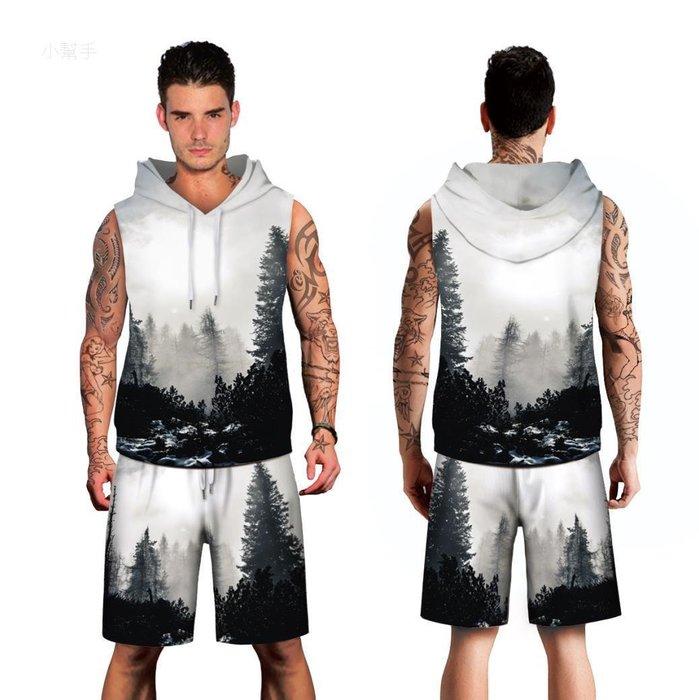 墨色樹林數碼印花男式套裝寬松大碼帶帽運動服#優品小鋪#