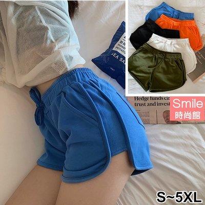 【V3088】SMILE-休閒實搭.純色鬆緊腰跑步運動居家闊腿短褲