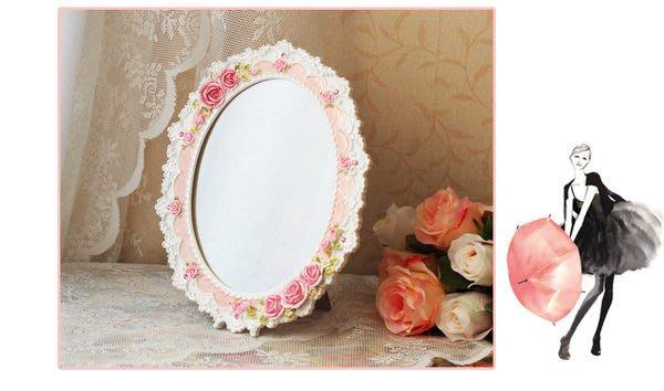 粉紅玫瑰精品屋~ farm house愛麗絲玫瑰蕾絲化妝鏡~現貨