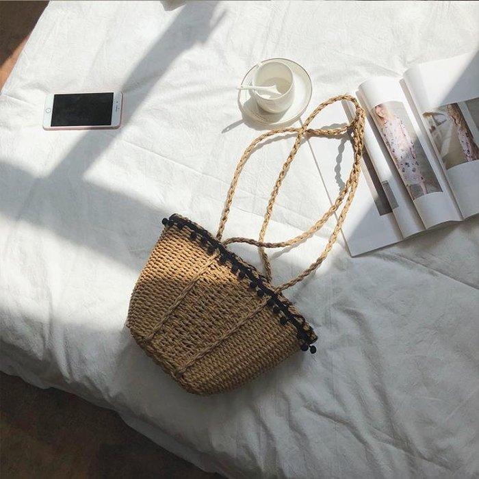 2019新款包包冬夏休閒手工草編包沙灘包度假包編織女包單肩手提包禮物
