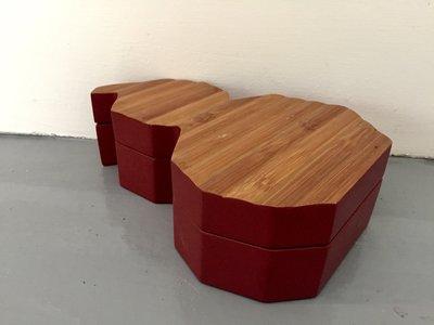 【一(藝)窩】近代 葫蘆型收納盒~紅漆+竹~