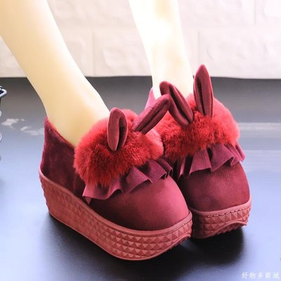 好物多商城 冬季新款防滑厚底家居家包跟室內月子卡通可愛毛絨小兔子棉拖鞋女