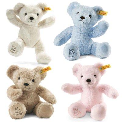 【STEIFF德國金耳釦泰迪熊】My First Teddy Bear (腳底有Steiff唷!)  白/藍/粉/米黃