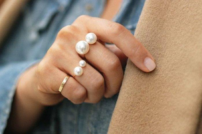 100%Boutique時尚街拍 大小珍珠 可調戒指