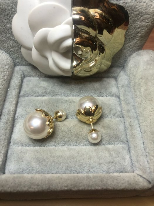 DIOR 經典 二手 雙珍珠 金色花瓣 氣質 耳環