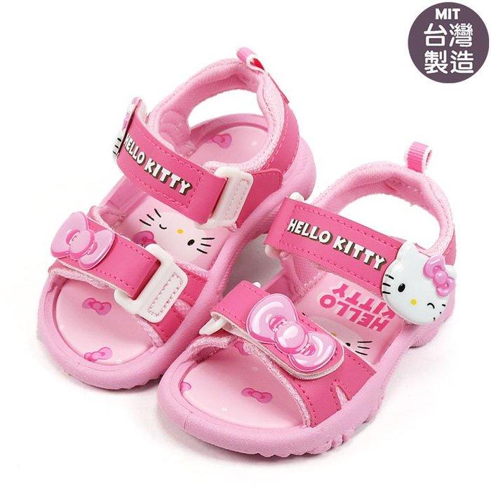 女童鞋/ Hello Kitty 凱蒂貓雙魔鬼氈 可調整兒童涼鞋. 粉14-18號