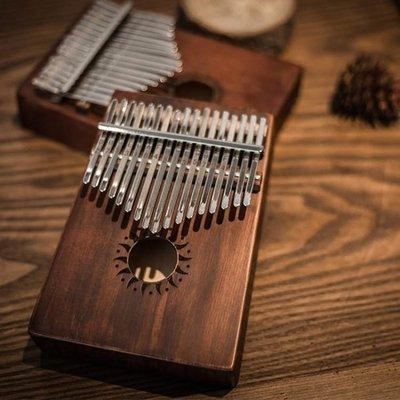 拇指琴17音桃花心木全單板電箱款手指鋼琴復古黑色卡林巴琴