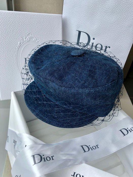 DiOR 牛仔藍網紗帽 報童帽 貝蕾帽全新尺57孫芸芸明星名媛同款專櫃真品
