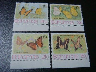 【大三元】F2各國蝴蝶專題系列-美洲郵票-巴哈馬-新票四全1套
