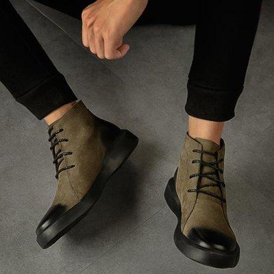 馬丁靴男秋冬季潮真皮切爾西短靴加絨英倫復古高筒靴子中筒工裝鞋【巴黎春天】
