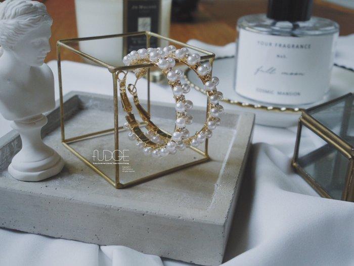 FUDGE法橘 / 正韓 珍珠小鑽排列C圈耳環/LE18527