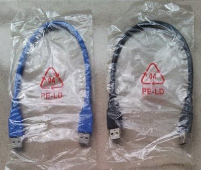 USB 3.0資料傳輸線(藍色,黑色)[A公對A公] 30公分cm(0.3米m)(AM-AM) (U3延長轉接線)