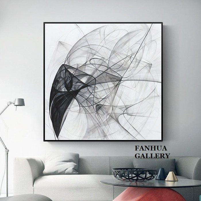 C - R - A - Z - Y - T - O - W - N 純手繪立體油畫黑白交織的軌跡抽方形掛畫玄關藝術裝飾畫商空美學空間設計師款高檔手繪油畫收藏掛畫