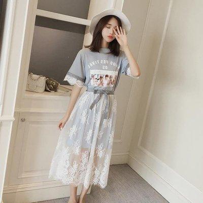 哆啦本鋪 夏新款韓版潮學院風網紗蕾絲拼接學生顯瘦兩件套T恤洋裝女 D655