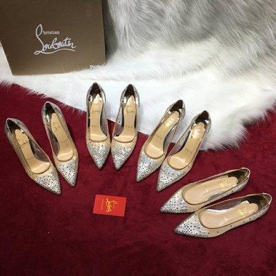 Christian Louboutin 水鑽網紗款紅底鞋 羊皮內裹  跟高 平底  6.5cm  8.5cm 10cm 35~41碼