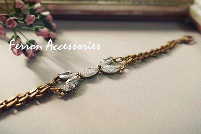 Ferron Accessories No.96 蝶形水鑽手鍊  訂製 Handmade 復古 歐美 黃銅
