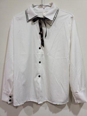 免運 韓系復古簡約襯衫 獨家款鑲邊領Godiva蝴蝶結甜美氣質顯瘦長袖白色襯衫  顯瘦襯衫  只有一件