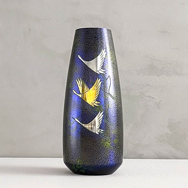 日本高岡銅器 蓬萊彫金祥鶴 銅花瓶 插花 花道 家飾
