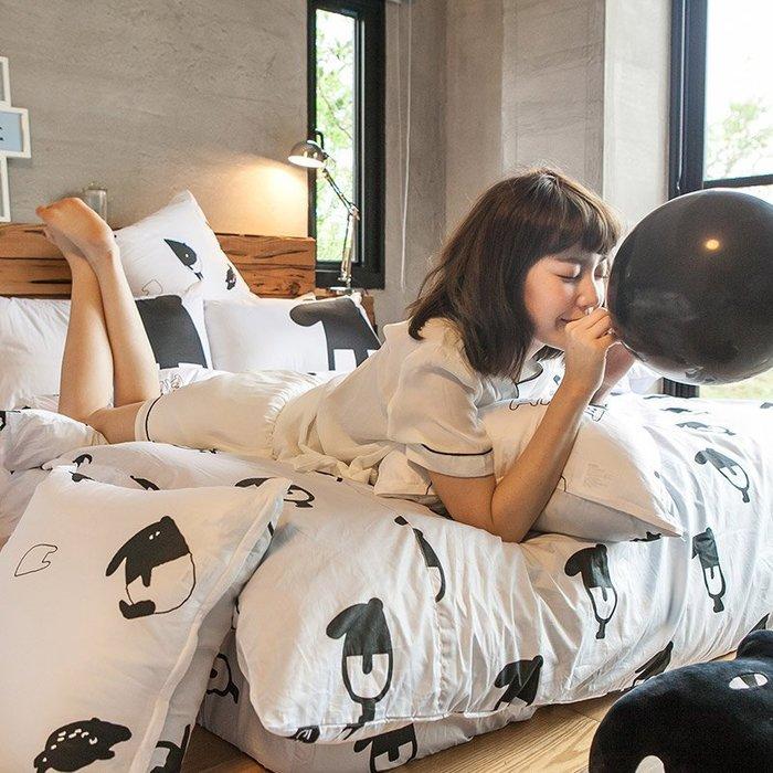 床包兩用被組 / 雙人【經典黑白款-馬來貘的日常】含兩件枕套  鋪棉兩用被套  100%精梳棉  戀家小舖AAL215