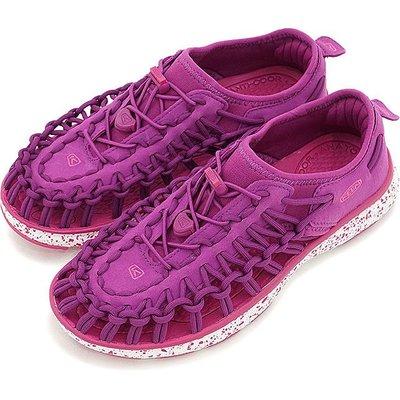 =CodE= KEEN UNEEK O2 SANDALS 編織彈性綁繩包後跟涼鞋(紫桃紅)1016665 拖鞋 大童 女
