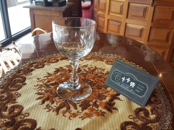 【卡卡頌 歐洲跳蚤市場/歐洲古董】法國老件_手工水晶玻璃杯 手工水晶玻璃酒杯 老水晶雕刻杯 高腳杯 g0425