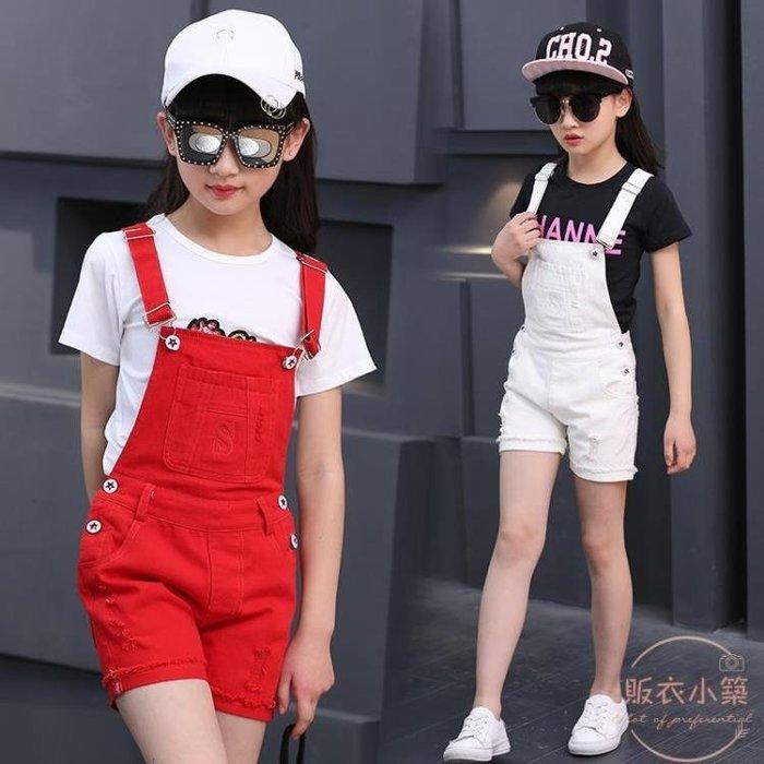女童牛仔背帶褲子新款韓版中大童夏裝兒童女孩時尚吊帶短褲潮