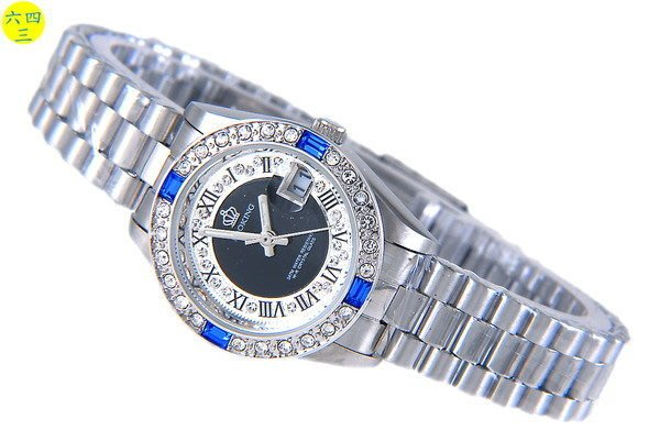 (六四三精品)普洛金(真品)精準錶~3.6.9.12藍水鑽外框 ~黑色面盤~不銹鋼!女